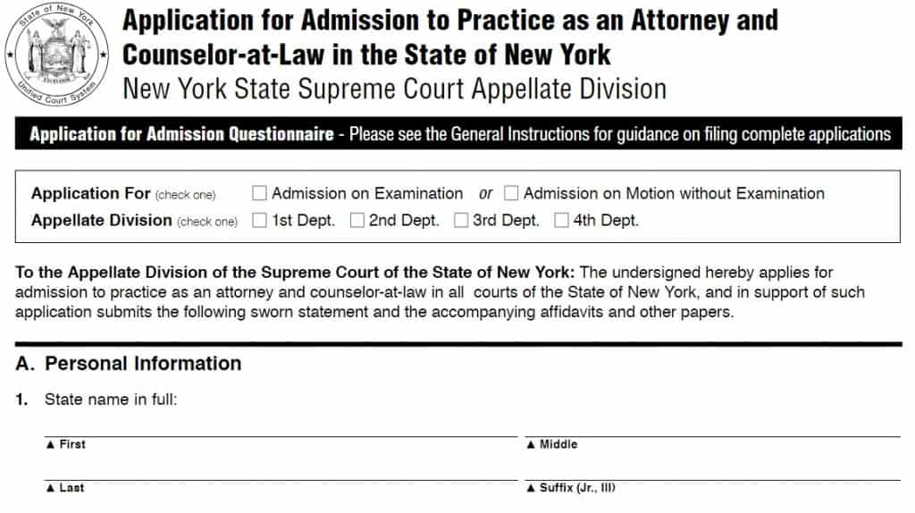 New York Bar Exam Application